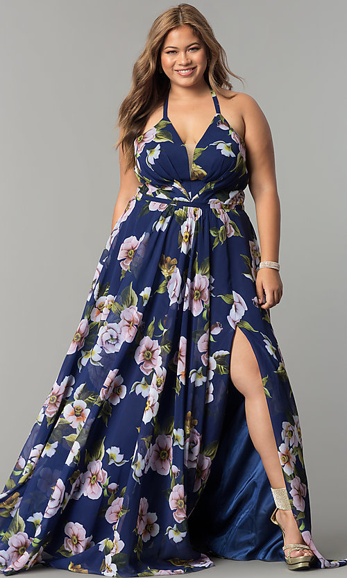 Image of long plus-size v-neck print prom dress. Style: FA-9431 Detail Image 4