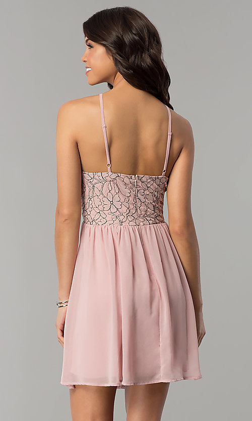 Image of mauve pink lace-accented party dress by As U Wish. Style: AS-A6565F337 Back Image