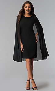 Image of wedding-guest short black dress with attached cape. Style: IT-111407 Detail Image 2