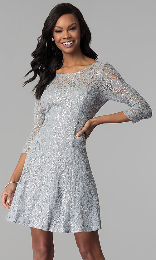 Short Silver Sequin Lace Party Dress With Sleeves