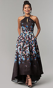 Image of high-low floral-print long prom dress with pockets. Style: MO-12512 Front Image