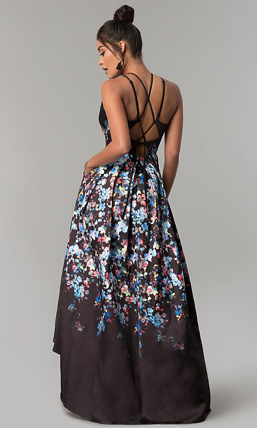 Image of high-low floral-print long prom dress with pockets. Style: MO-12512 Back Image