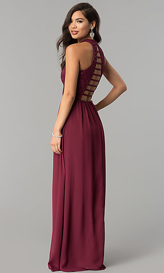 Long Burgundy Red Lace-Bodice Prom Dress