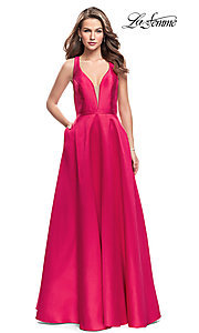 Image of La Femme long prom dress with illusion deep v-neck. Style: LF-26215 Front Image