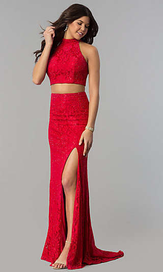 Two-Piece Lace Prom Dress with Long Skirt and Train