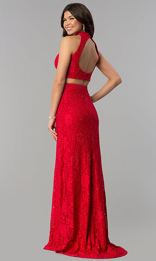 Image of two-piece lace prom dress with long skirt and train. Style: JOJ-JE-18091 Back Image