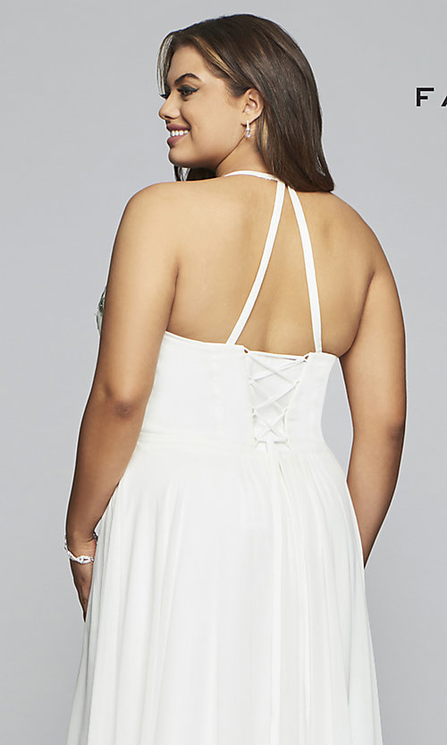 Image of chiffon plus-size prom dress with embroidered bodice. Style: FA-9435 Detail Image 2