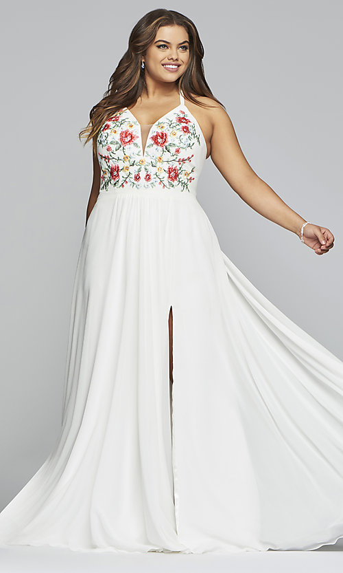 Chiffon Plus-Size Prom Dress with Embroidered Bodice