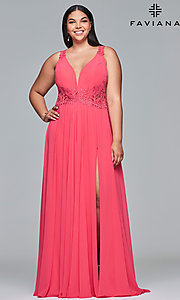 Image of long deep-v-neck plus prom dress with open back. Style: FA-9433 Front Image
