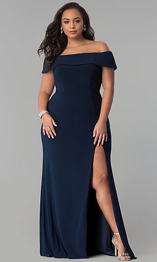 Long Off-the-Shoulder Plus-Size Faviana Prom Dress