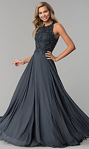 Image of long beaded-bodice prom dress with back cut out. Style: MF-E2247 Front Image