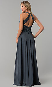 Image of long beaded-bodice prom dress with back cut out. Style: MF-E2247 Back Image