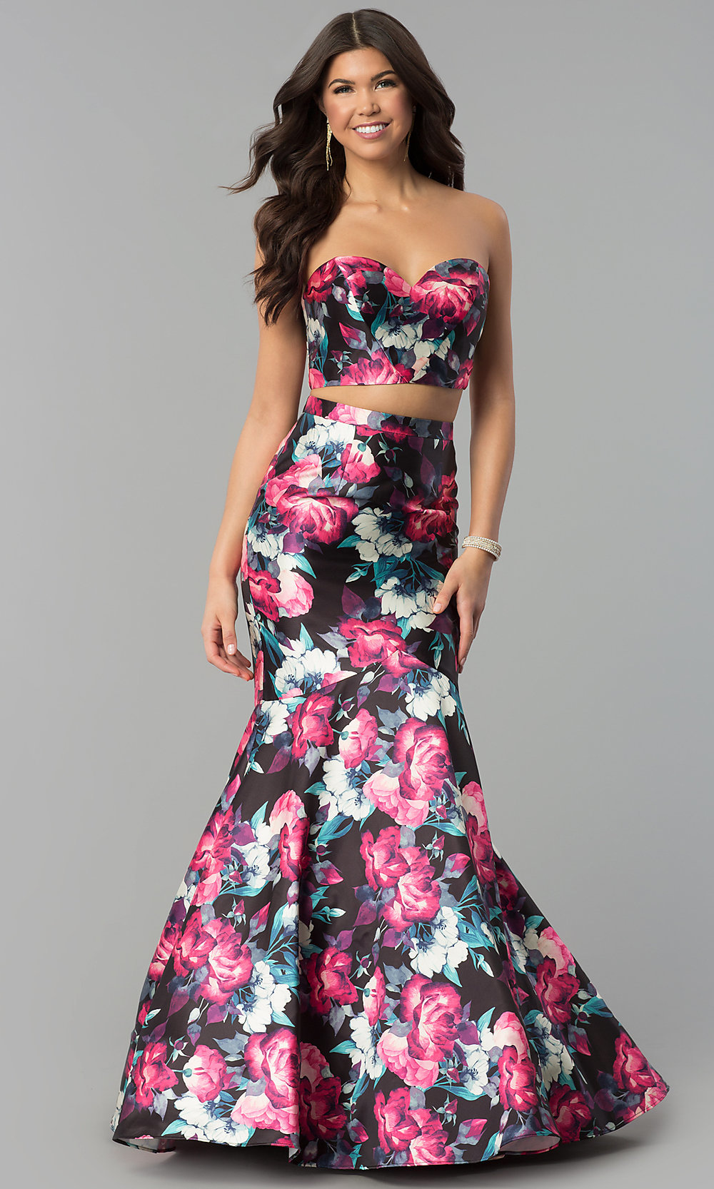 Floral Print Mermaid Two Piece Prom Dress Promgirl
