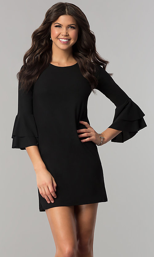 Image of short party dress with double-flounce 3/4 sleeves. Style: CH-2998 Front Image