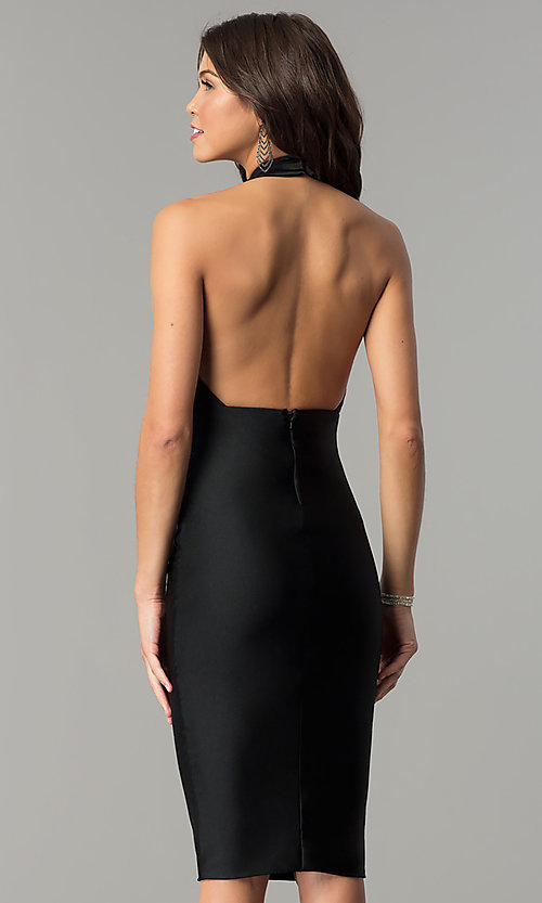 Image of short high-neck tight party dress by Atria. Style: AT-8508 Back Image