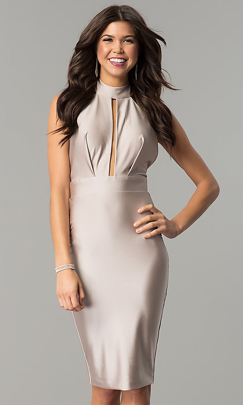 Image of short high-neck tight party dress by Atria. Style: AT-8508 Front Image