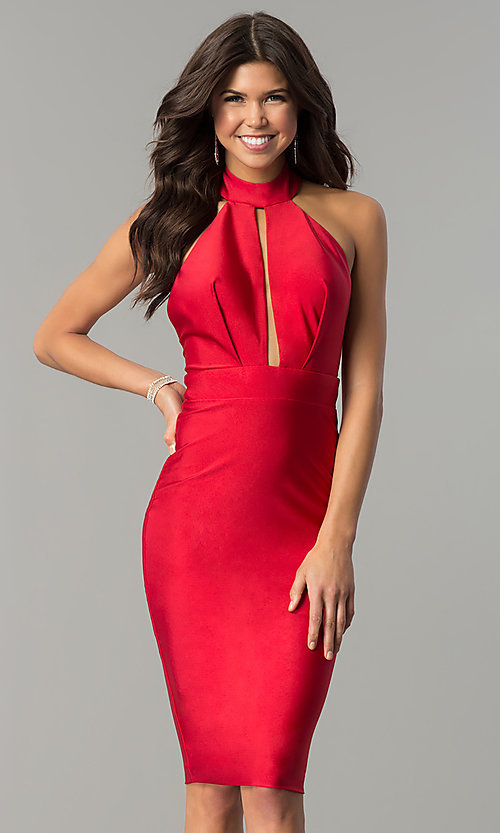 Image of short high-neck tight party dress by Atria. Style: AT-8508 Detail Image 1