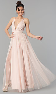 Image of long tulle formal prom dress with low v-neck. Style: LP-27450 Detail Image 2