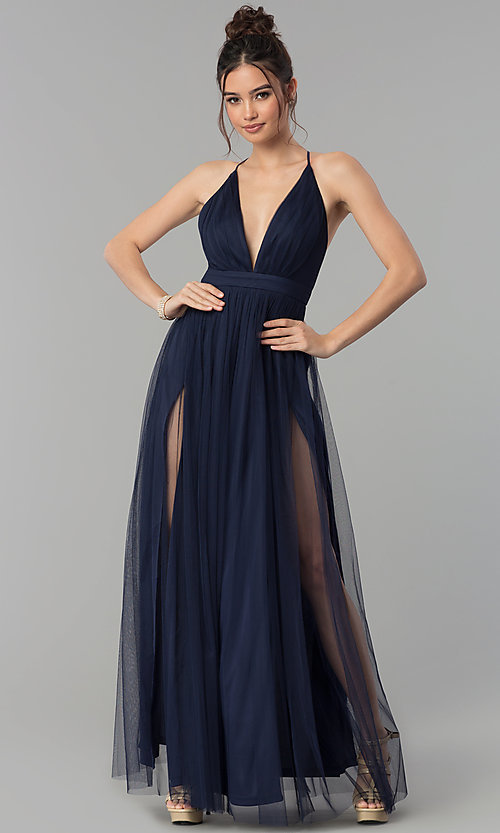 Image of long tulle formal prom dress with low v-neck. Style: LP-27450 Front Image