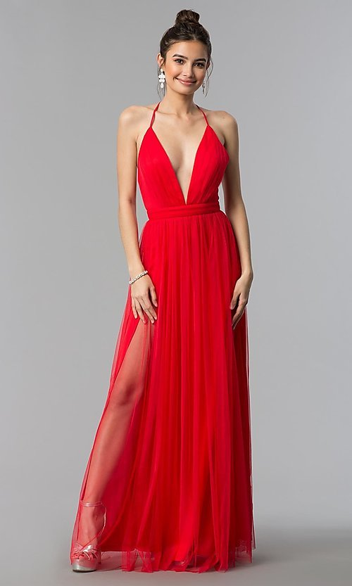 Image of long tulle formal prom dress with low v-neck. Style: LP-27450 Detail Image 3