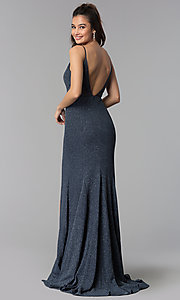 Image of long sheer-waist glitter slate black prom dress. Style: DMO-J319527 Back Image