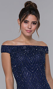 Image of off-the-shoulder long prom dress by PromGirl. Style: PV-PL-105 Detail Image 1