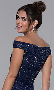 Image of off-the-shoulder long prom dress by PromGirl. Style: PV-PL-105 Detail Image 2