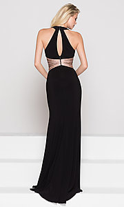 Image of beaded-waist long formal prom dress with cut outs. Style: CD-GL-G767 Back Image