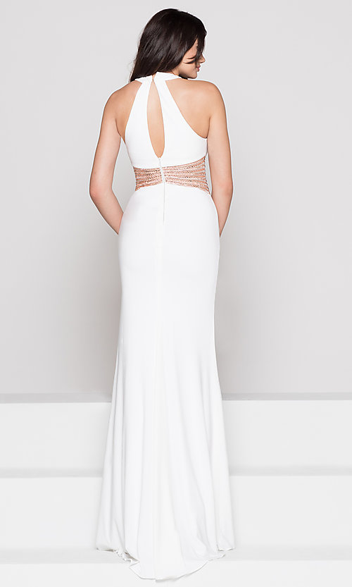 Image of beaded-waist long formal prom dress with cut outs. Style: CD-GL-G767 Detail Image 3