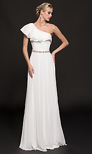 Image of long one-shoulder evening dress with ruffles. Style: CD-GL-G794 Detail Image 3