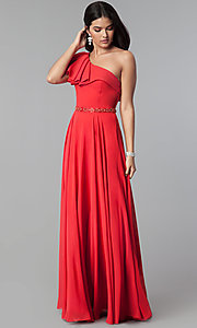 Image of long one-shoulder evening dress with ruffles. Style: CD-GL-G794 Front Image