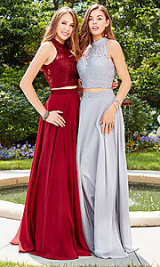 Image of long two-piece chiffon prom dress with lace top. Style: CLA-3427 Detail Image 3