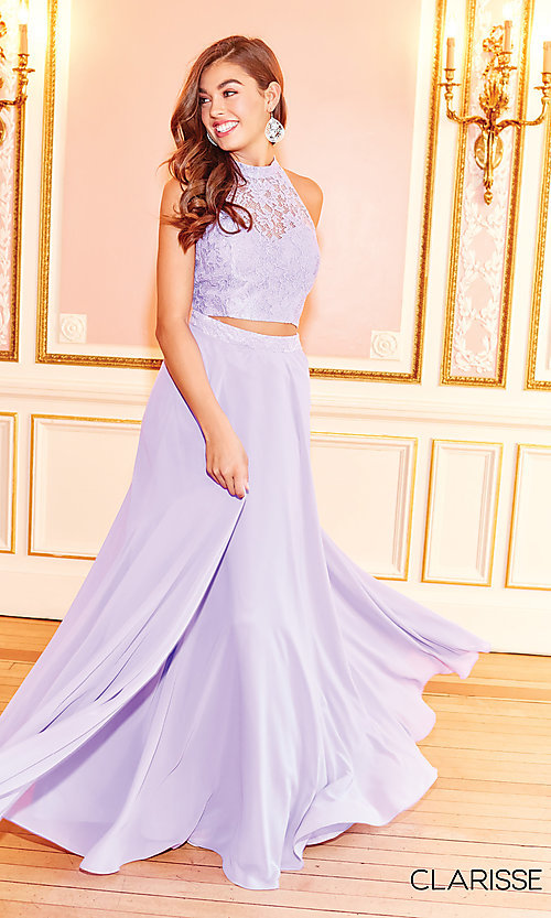 Image of long two-piece chiffon prom dress with lace top. Style: CLA-3427 Detail Image 4
