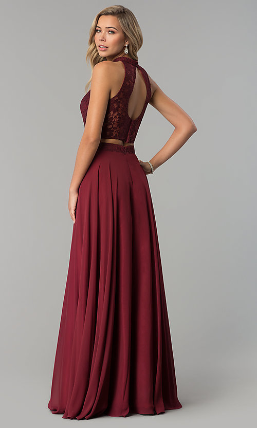 Image of long two-piece chiffon prom dress with lace top. Style: CLA-3427 Back Image