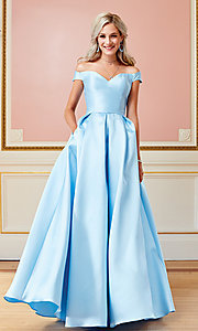 Image of off-the-shoulder long a-line prom dress. Style: CLA-3442 Detail Image 4