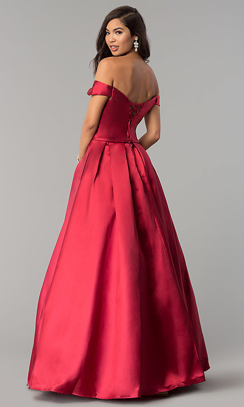 Image of off-the-shoulder long a-line prom dress. Style: CLA-3442 Back Image
