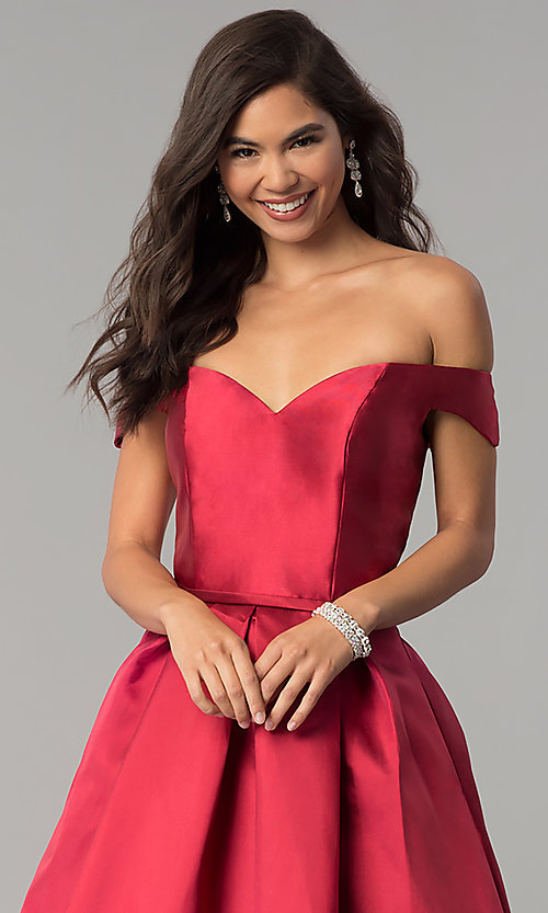 Image of off-the-shoulder long a-line prom dress. Style: CLA-3442 Detail Image 1