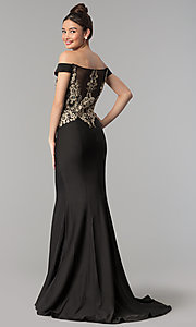 Image of long off-the-shoulder beaded Clarisse prom dress. Style: CLA-3452 Back Image
