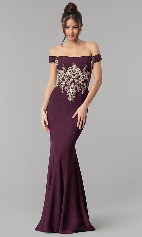 Image of long off-the-shoulder beaded Clarisse prom dress. Style: CLA-3452 Detail Image 2