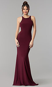 Image of cut-out open-back long sleeveless prom dress. Style: CLA-3459 Detail Image 1