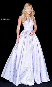 Image of long print illusion prom dress by Sherri Hill. Style: SH-51703 Front Image