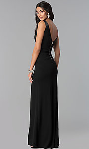 Image of long v-neck side-slit prom dress. Style: EM-CPS-1606-001 Back Image