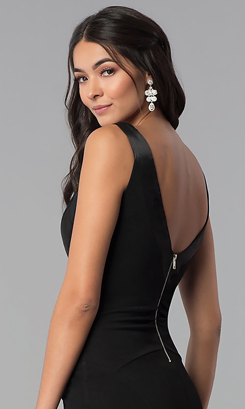 Image of long v-neck side-slit prom dress. Style: EM-CPS-1606-001 Detail Image 2