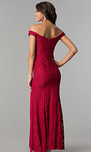 Image of off-the-shoulder long lace prom dress by PromGirl. Style: LP-PL-24500 Back Image