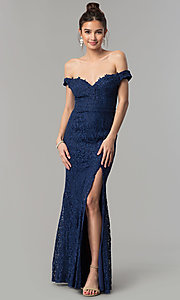 Image of off-the-shoulder long lace prom dress by PromGirl. Style: LP-PL-24500 Front Image