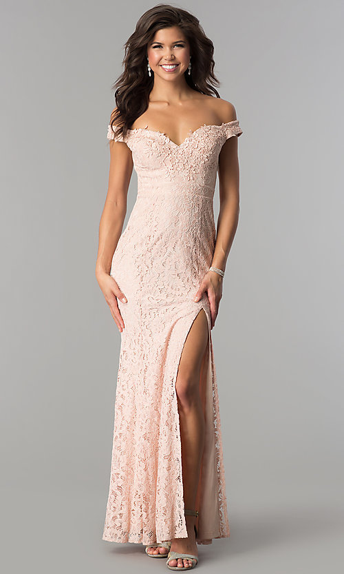 Image of off-the-shoulder long lace prom dress by PromGirl. Style: LP-PL-24500 Detail Image 1