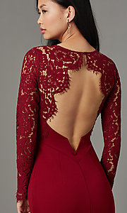 Image of long open-back navy prom dress with lace sleeves. Style: MT-9147 Detail Image 5