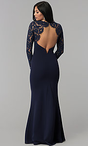 Image of long open-back navy prom dress with lace sleeves. Style: MT-9147 Front Image