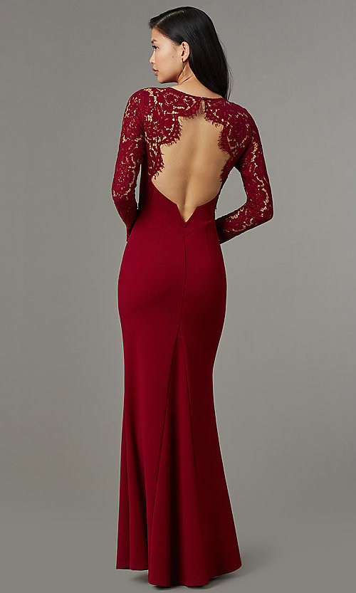 Image of long open-back navy prom dress with lace sleeves. Style: MT-9147 Detail Image 4