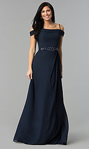 Image of long off-shoulder chiffon prom dress with cowl back. Style: FB-GL1522 Detail Image 2